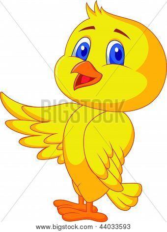 Cute bird cartoon waving