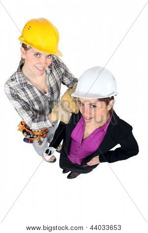 Tradeswoman and engineer working together