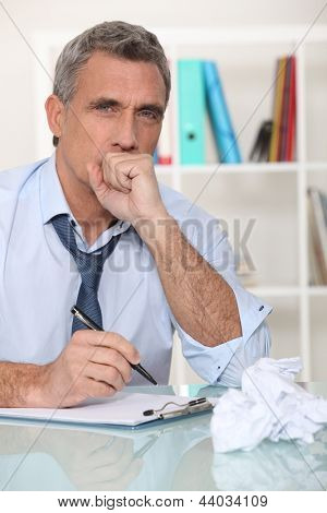 Man making himself sick from stress