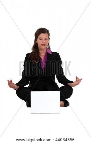 Businesswoman meditating