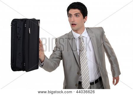 Man running with briefcase