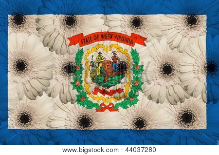 Stylized  Flag Of American State Of West Virginia    With Gerbera Flowers