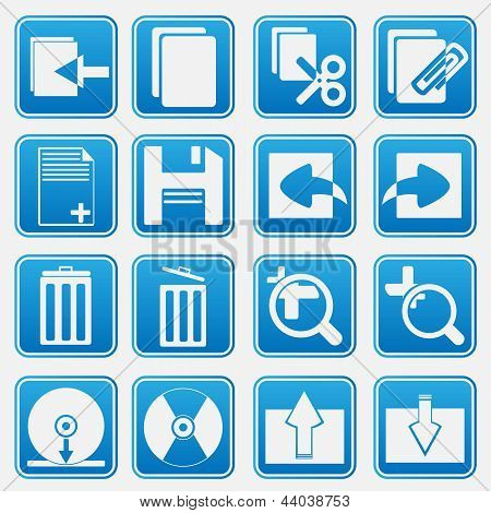 Computador Icon Set estilo azul