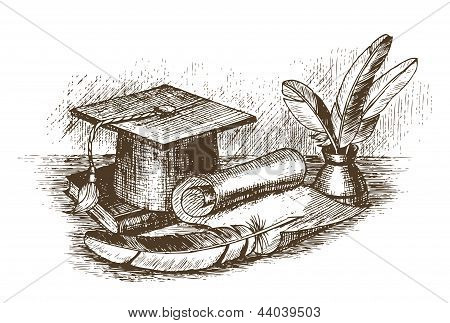 Graduation cap inkstand with feathers and scroll draw by hand