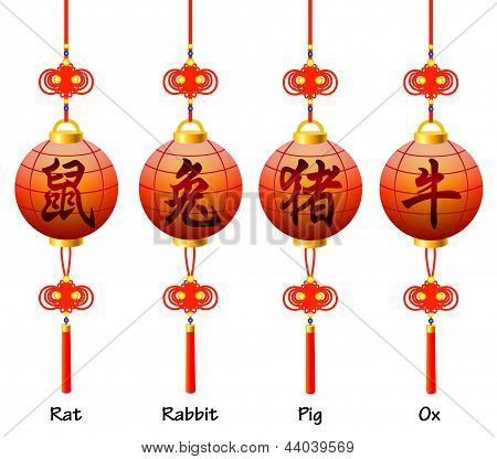Chinese symbols on the lantern. Signs of the Zodiac. Rat rabbit ox pig.