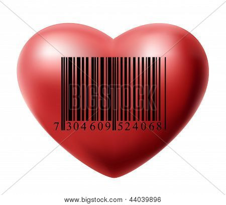 Heart with bar code