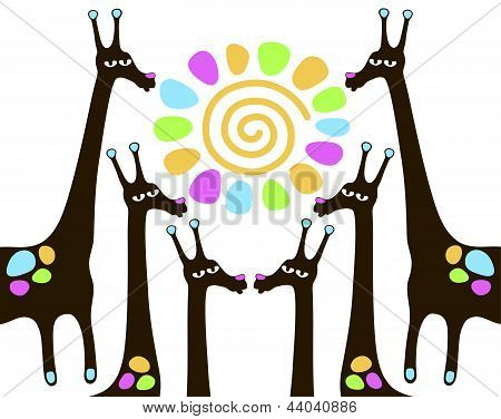giraffes with sun