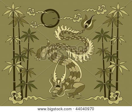 dragon with bamboo