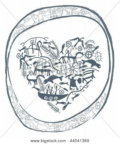 shamanic heart in ornamental circle