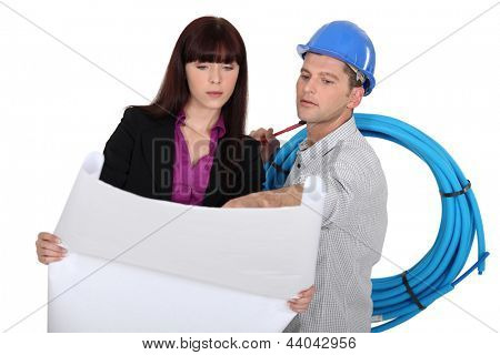 Construction worker and an engineer