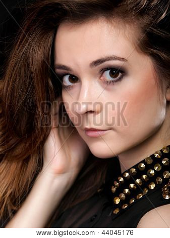 Portrait Of Young Woman Party Clothes Studs Collar