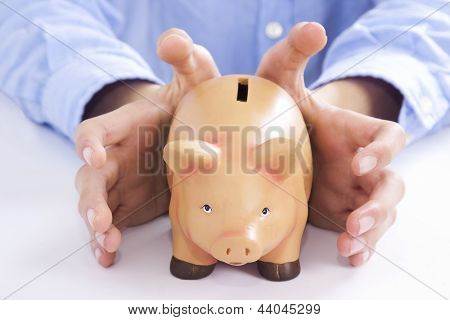 Pig piggy bank with euro currency savings and economy