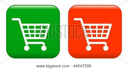 Red anf green shopping basket sign