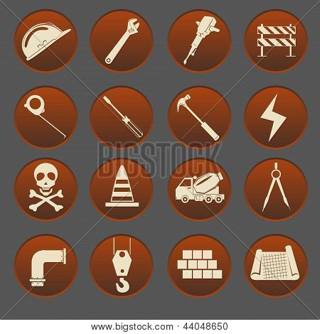 Construction Icon Set Gradient Style