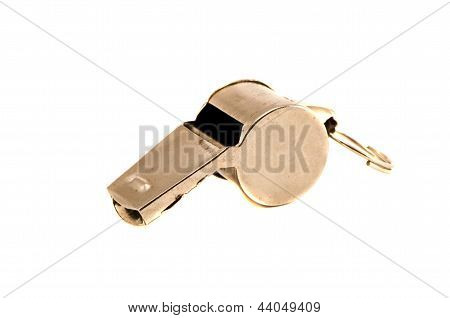Old Sport Metal Whistle Isolated On White