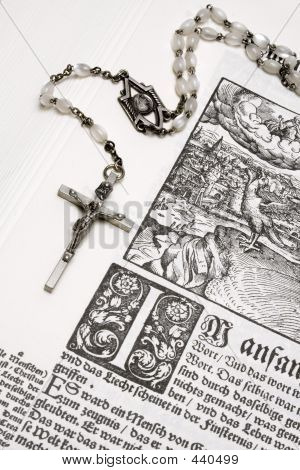Rosary And Bible (close View)