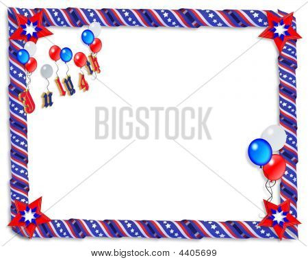 July 4 Patriotic Ribbons Border