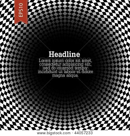 Abstract checkered background with space for text in center. Vector, EPS10