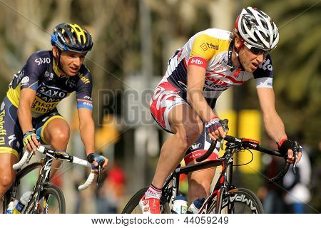 BARCELONA - MARCH, 24: Tim Wellens(R) and Karsten Kroon(L) ride during the Tour of Catalonia cycling race through the roads of Monjuich mountain in Barcelona on March 24, 2013