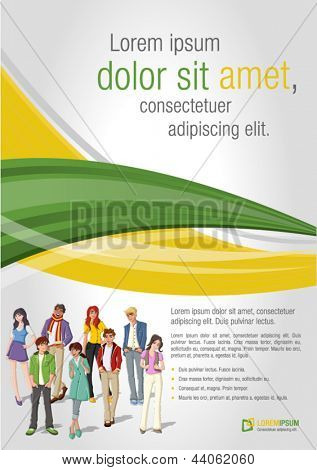 Green and yellow template for advertising brochure with young people. Teenagers.