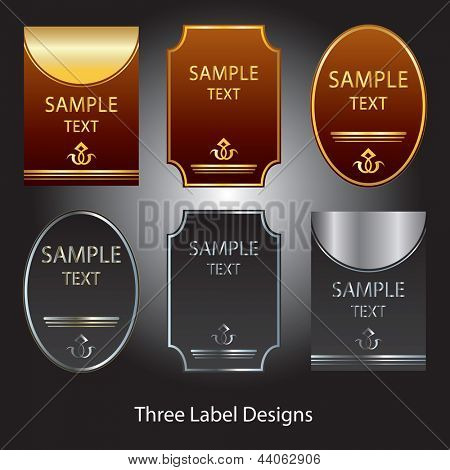 Three label designs in gold on brown and silver on grey.
