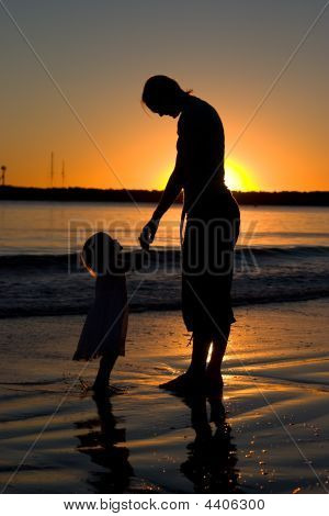 Mother & Daughter Sunset Silhouette 2
