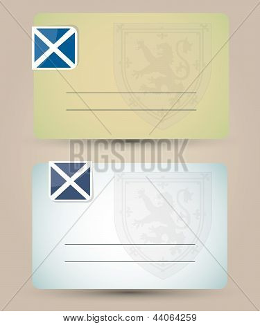 business card with flag and coat of arms of Scotland