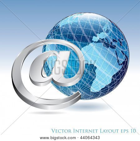 vector e-mail sign with globe