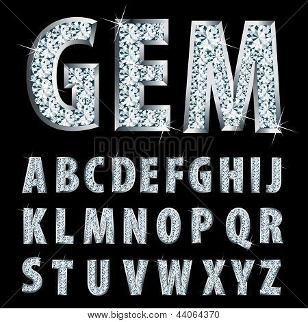vector silver alphabet with diamonds