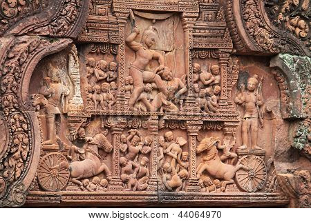Carved Stone Relief At Banteay Srei, Cambodia