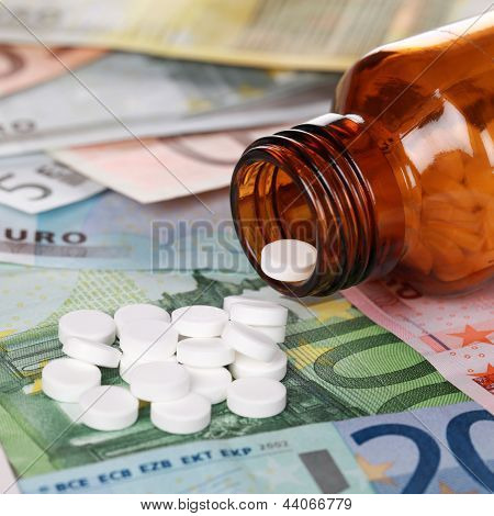 High Cost Of Healthcare With Medicine On Euro Banknotes