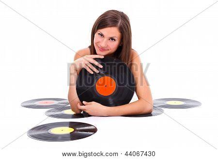 Girl With Retro Discs