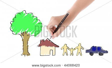 Hand with pen drawing happy family