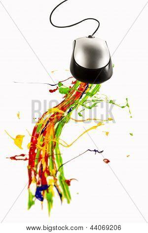 Computer Mouse Making Paint Splash