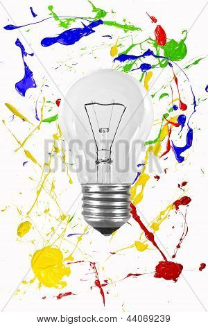 Light Bulb On A Painted Background