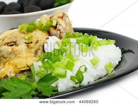 Grilled trout with rice and vegetables