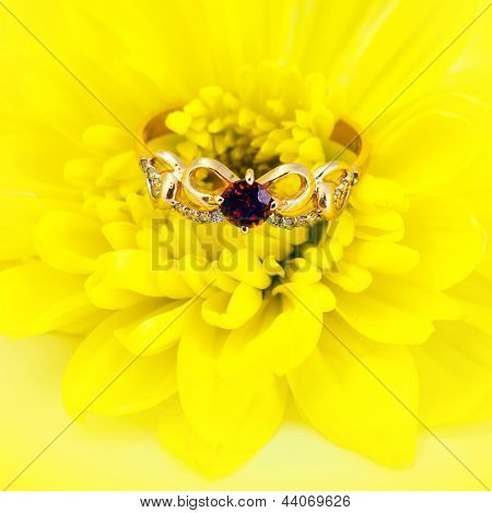 Golden Ruby Ring On Yellow Flower