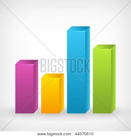 Bar Shiny 3D Colorfull Graph