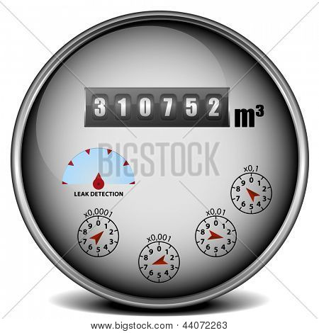 illustration of a metal framed watermeter with metric units, eps10 vector