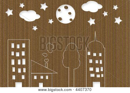 Cardboard Night Cityscape
