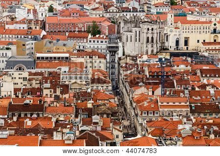 Aerial View On Lisbon And Santa Justa Lift From Above, Portugal