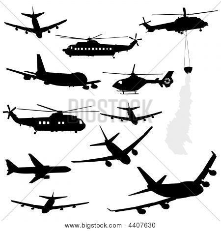 Helicopter And Airplane Silhouettes