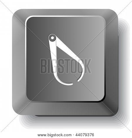 Caliper. Vector computer key.