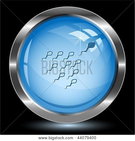 Spermatozoon. Internet button. Vector illustration.