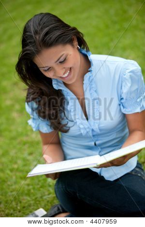 Woman Studying Outside