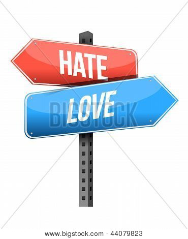 Hate, Love Road Sign Illustration Design