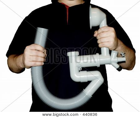 Plumber Holding Pipes, Isolated