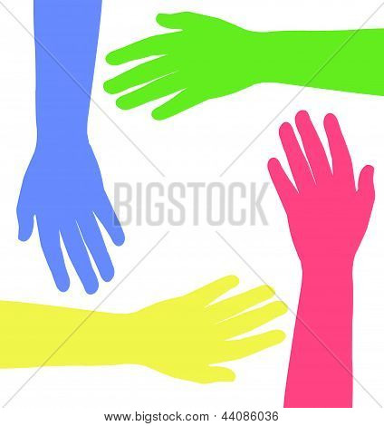 colored hands together, vector