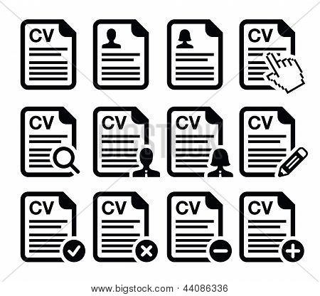 CV - Curriculum vitae, resume vector icons set