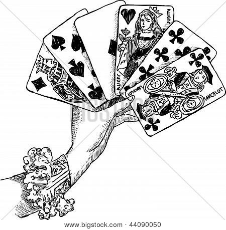 Hand With Playing Cards.